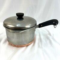 Vintage Revere Ware Stainless Steel Copper Clad 3 Quart Saucepan Pot & Lid & Pan