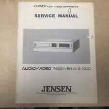 Original Service Manual for the Jensen AVS-1500 A/V Receiver
