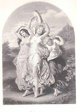 Antique 1886 Engraving*Nude Women*Jubilant Dancing*L'Allegro*W.E. Frost*Pretty!