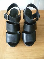 OFFICE SIZE 37 UK4 LADIES BLACK LEATHER CHUNKY STRAPY SANDAL SHOES GOOD CON
