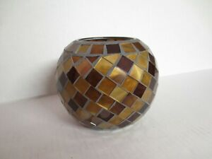 """Home Interior MOSAIC GLASS Large 5"""" tall CANDLE HOLDER Brown Gold"""