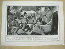 A PAGE WW1 ILLUSTRATED WAR NEWS 1914 RUSSIAN COSSACKS ON TROOP TRAIN WITH HORSES