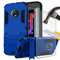 Shockproof Dual Layer Hard Back Armour Phone Case Cover✔Glass Screen Protector