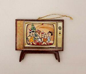 The Flintstones Fred Wilma Gang Mid Century TV~3DGlitterd Christmas Ornament