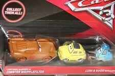"""DISNEY PIXAR CARS 3 """"MCQUEEN AS CHESTER WHIPPLEFILTER / LUIGI & GUIDO W/ CLOTH"""""""