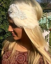 Perla Marfil Pluma desnuda Diamante Hair Head Band Choochie Hippy Boho Nupcial Novia