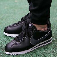 Nike Classic Cortez Leather UK Size 9 EUR 44 Men's Trainers Classic Shoes Black