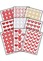 24 Valentines Gift Stickers - for Valentines presents & Craft Projects - Hearts