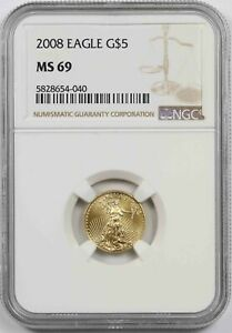 2008 Gold Eagle $5 NGC MS 69 (Tenth-Ounce) 1/10 oz Fine Gold