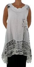 HF700W46 Damen Tunika Top Leinen Patchtwork Vintage Spitze Gr. 46 weiß Lagenlook