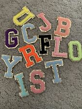 More details for chenille patch letter patches iron on / sew on retro alphabet embroidery gold