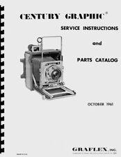 Graflex Century Graphic Service & Repair Manual with Kalart Rangefinder Info