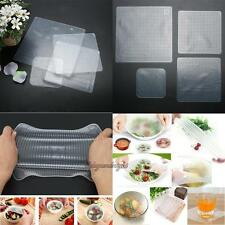 4 x Silicone Fresh Food Grade Plastic Wrap Kitchen Seal Cover Stretch Cling Film