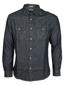 Mens Wrangler Western Denim Shirt Rinse Wash - Dark Indigo Blue