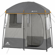 Shower Tent Portable 2-Room RV Bathroom Camp Camping Outdoor Gray Shelter Pool