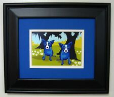 "GEORGE RODRIGUE BLUE DOG ""Daisies for You"" POSTCARD - FRAMED - 13.5"" x 11.5"""