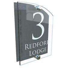 Clear Acrylic & Anthracite House Sign Modern Door Number Name Plaque VAL-28W-A