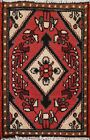 Vintage Traditional Geometric Oriental Area Rug Wool Hand-knotted 1x2 Red Carpet