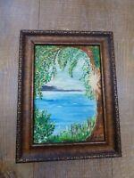 Original Oil Painting Lake Nature Threes Sea Art Framed Medium Size Signed
