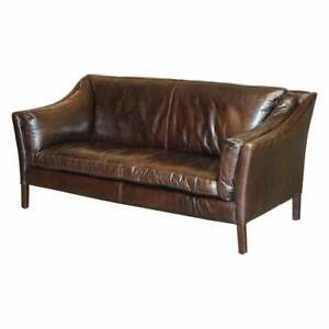 DISPLAY CONDITION HALO GROUCHO BIKE TAN BROWN LEATHER SOFA PART OF A LARGE SUITE