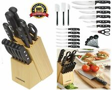 Knife Set With Block Kitchen Stainless Steel Sharpening Cutlery Knives 22 Piece