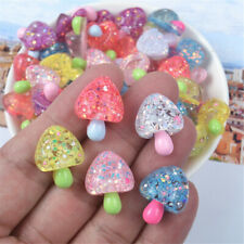 Handicraft Resin/Plastic Mushroom Cabochons Glitter Decor Flatbacks Random 10pcs