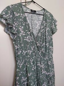 Dotti Tiered Flowy Green Floral Fit Flare Dress 10 S