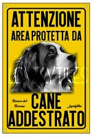 BOVARO DEL BERNESE AREA PROTETTA TARGA ATTENTI AL CANE CARTELLO PVC GIALLO