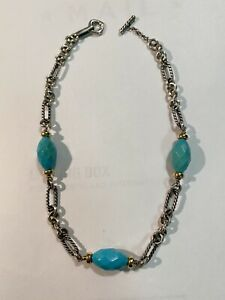 David Yurman Turquoise 925 Sterling Silver 18k Yellow Gold Figaro Chain Necklace
