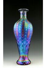 Glamorous Bohemian Art Nouveau Jugendstil Iridescent Glass Vase Tall 12''