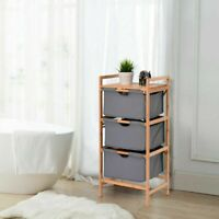 3 Drawer Bamboo Shelf Dresser Sliding Cloth Fabric Storage Bins Home & Garden US