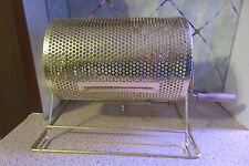 """Small Brass Metal Raffle Ticket Drawing Bingo Prize Drum 11.5"""" x 8"""" Cage Spins"""