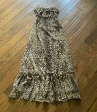 Forever 21 Small Brown Leopard Print Maxi Dress Strapless Ruffle Chiffon Lined