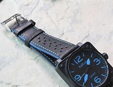 Blue Stripes black leather perforated 22mm rally band blue accents 20+ sold here