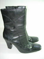 WOMENS BLACK LEATHER CALF HIGH BOOTS HIGH HEELS COMFORT CAREER SHOES SIZE 6 M