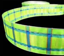 "5 Yd Lime Green Blue Plaid Wired Ribbon 1 1/2""W"