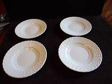 4 Tienshan White Porcelain Basket Weave Design Bread & Butter Plates