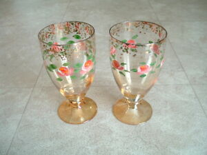 2 Hand painted Glass 24 Carat Gold Parfait Made in Italy rose flower Italian