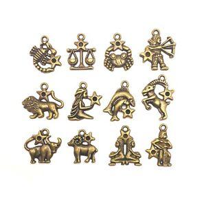 12 or 60 BULK pcs Bronze Zodiac Character Sign Charms - US Seller - BR211