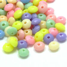Lot of 100 Little Assorted 6mm Faceted Round Rondelle Plastic Acrylic Disc Beads