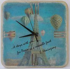 Handmade Wooden Square Wall Clock Balloons Paris Vintage