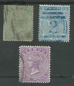 BERMUDA SG8,4&10a QV CC WATERMARK 3 GOOD TO FINE USED STAMPS CAT £113