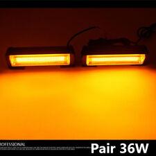 2x 36W Amber COB LED Car Emergency Hazard Warning Flash Strobe Beacon Light Bar