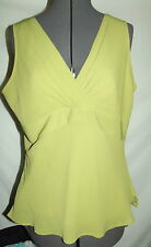 $10 SHIRT SALE WOW! green light olive 12 Liz Claiborne tank top ribbed (F69)