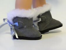 "Grey Fur Hugg Boots Fits Wellie Wishers 14.5"" American Girl Clothes Shoes"