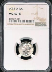 1938-D Mercury Dime NGC MS 66 FB *Sharply Struck - Full Split Bands!*
