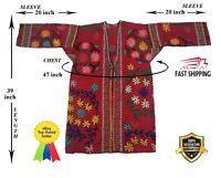 Uzbek Beautiful Vintage Suzani Red Hand Embroidery Robe Dress SALE WAS $129.00