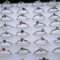 50/100 Wholesale Lots Fashion Jewelry Crystal CZ Rhinestone Silver Plated Rings