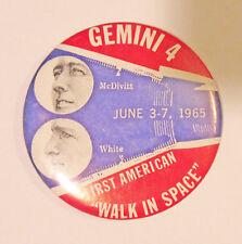 1965 Gemini 4 1st American Walk in Space McDivitt White 3 12 in Pinback