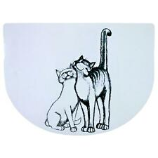 Trixie Pussy Cat Feeding Bowl Place Mat - Non-Slip, Plastic, 40 × 30 cm - White